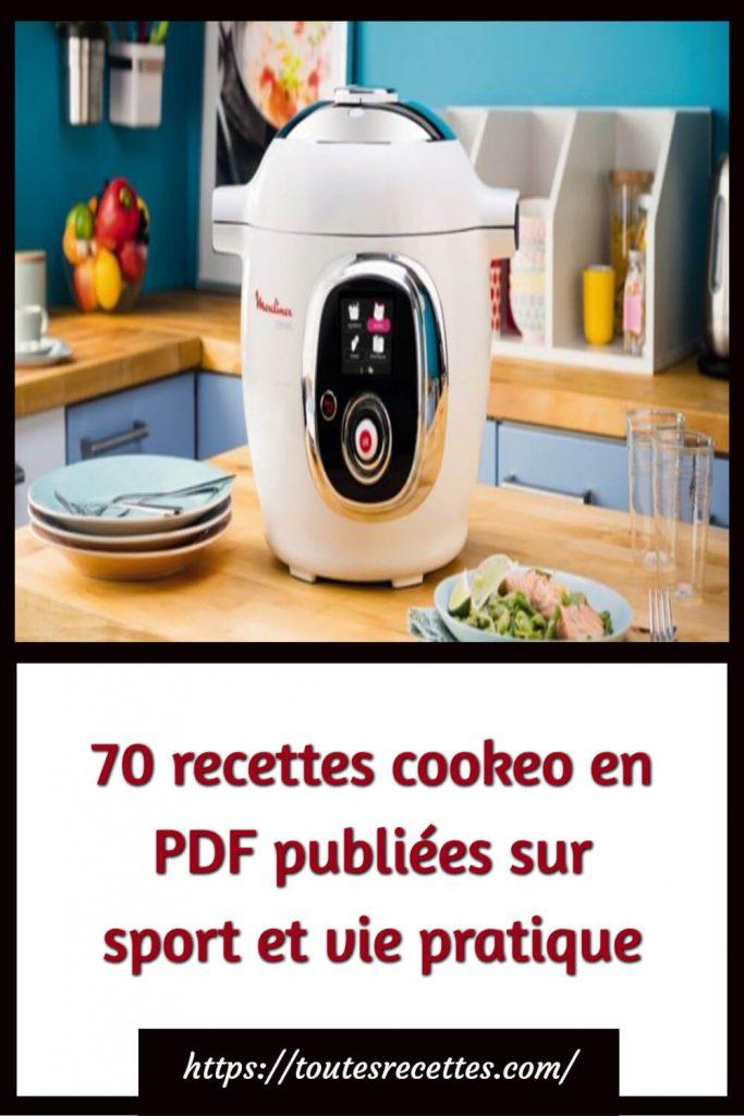 70 recettes cookeo en PDF publiées sur sport et vie pratique