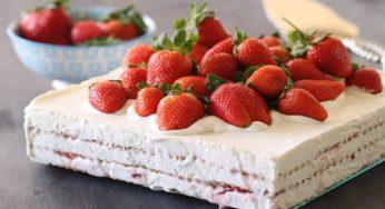 Gâteau aux Petit Beurre et fraises sans cuisson