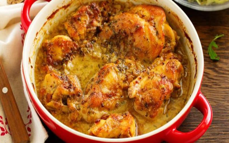 Casserole légère de lapin rôti miel et moutarde à l'ancienne
