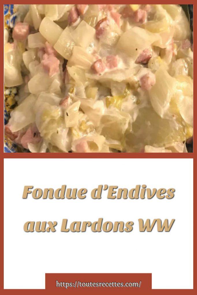 Comment préparer le Fondue d'Endives aux Lardons WW