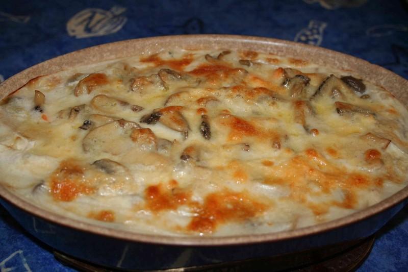 Gratin de fruits de mer aux champignons