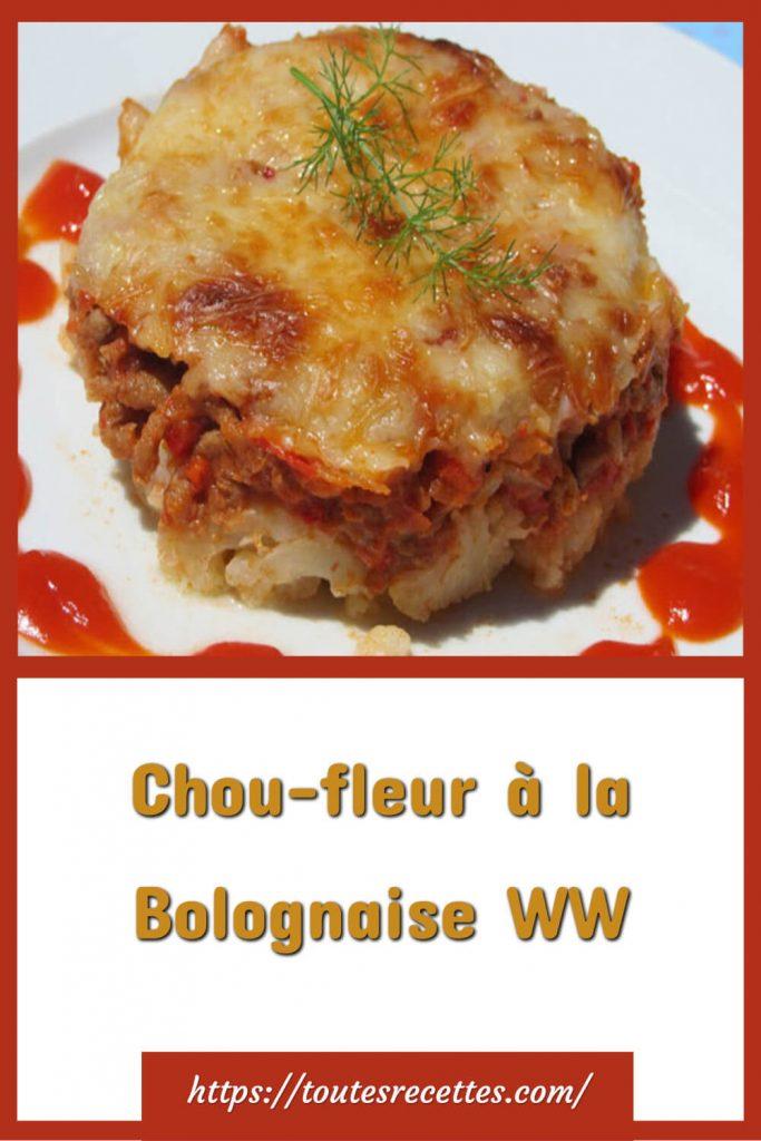 Comment préparer le Gratin de Chou-fleur à la Bolognaise WW