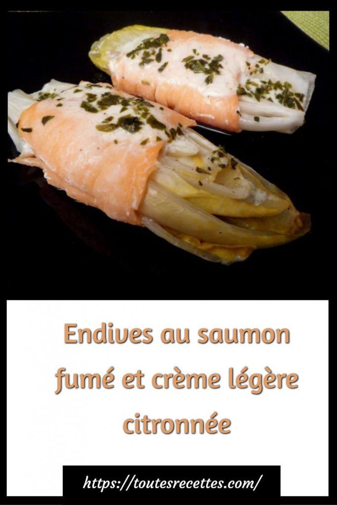 Comment préparer des endives au saumon fumé et crème légère citronnée