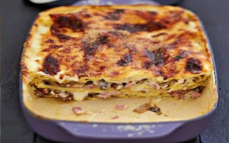 Lasagnes aux champignons sautés et jambon blanc