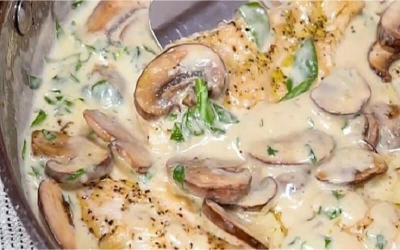 Poulet aux champignons, sauce crémeuse à l'ail et au parmesan