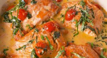 Saumon à la Toscane, épinards, tomates séchés à la crème