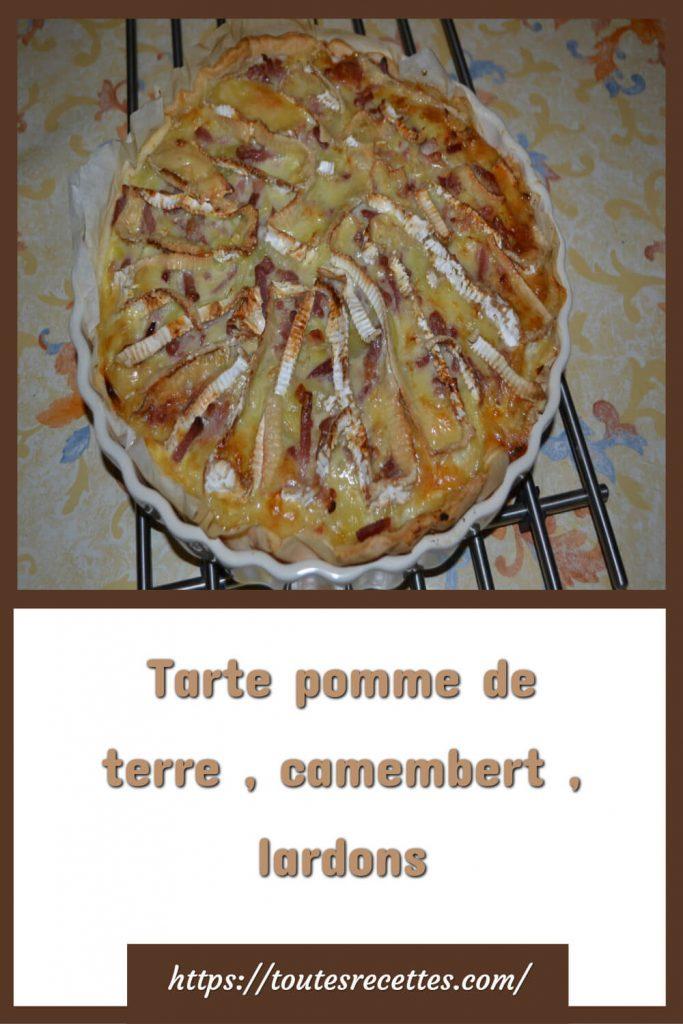 Comment préparer la Tarte pomme de terre , camembert , lardons
