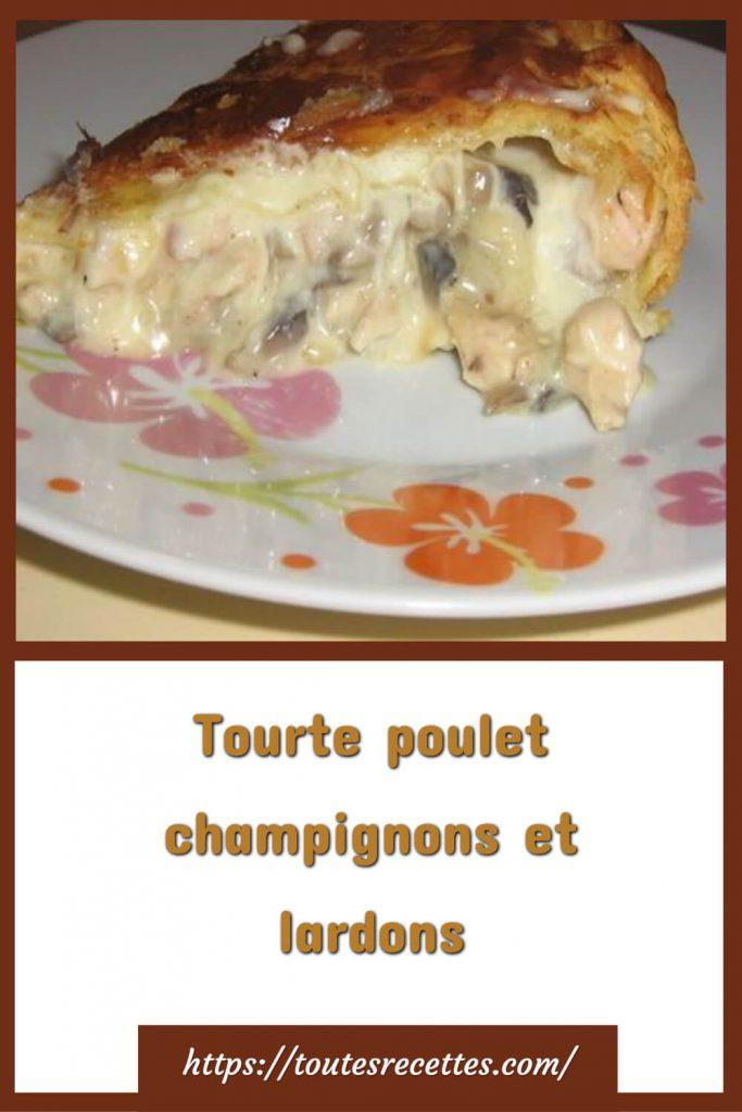 Comment préparer le Tourte poulet champignons et lardons