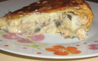 Tourte poulet champignons et lardons