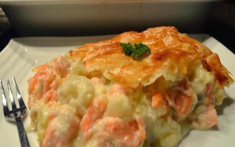Pâté au saumon et pommes de terre
