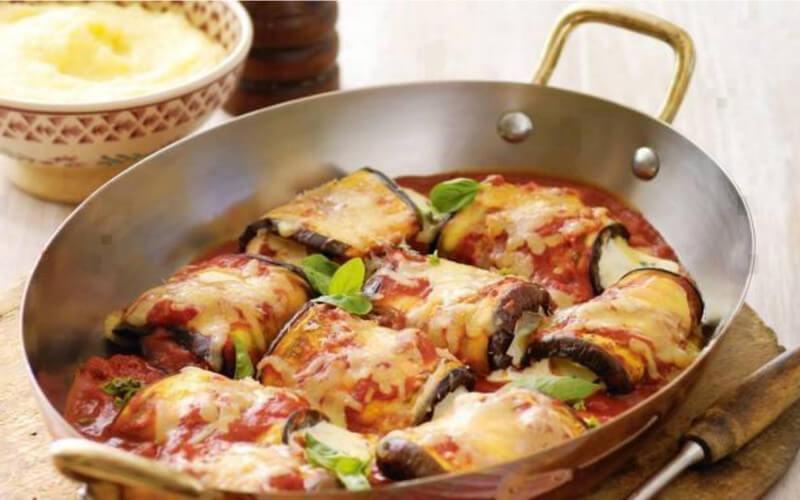 Aubergines roulées à la mozzarella et jambon