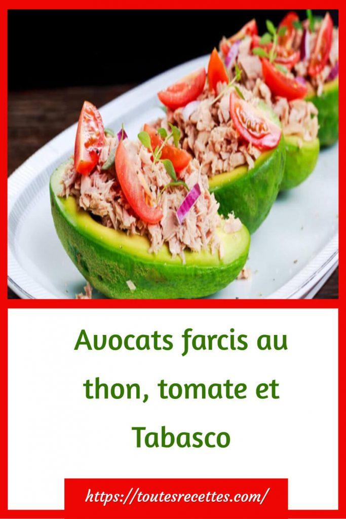 Comment préparer L'Avocats farcis au thon, tomate et Tabasco