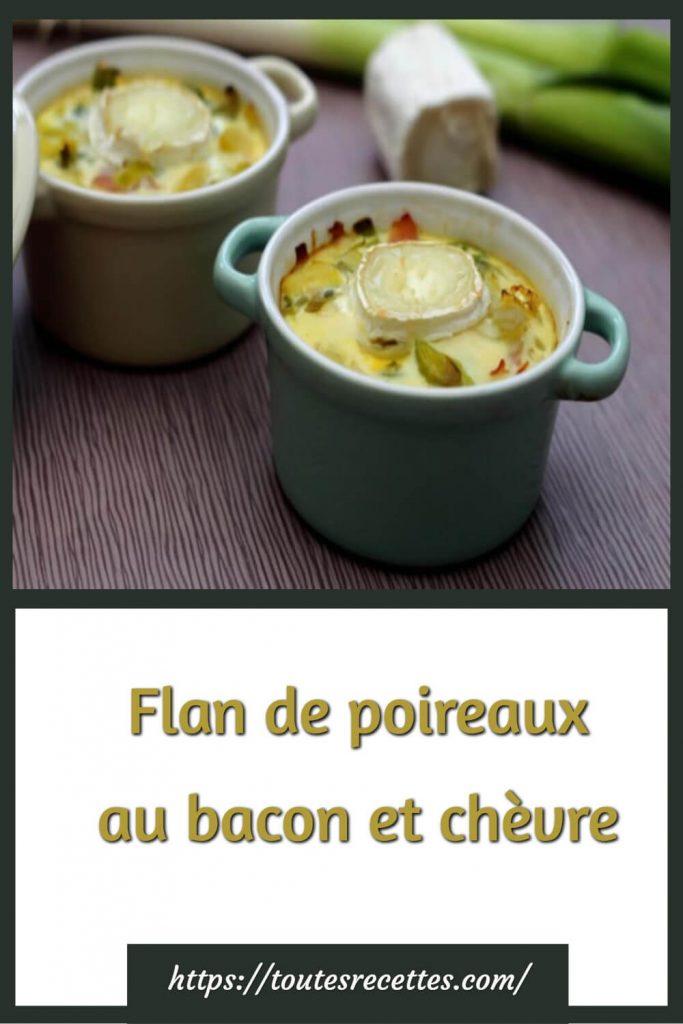 Comment préparer le Flan de poireaux au bacon et chèvre