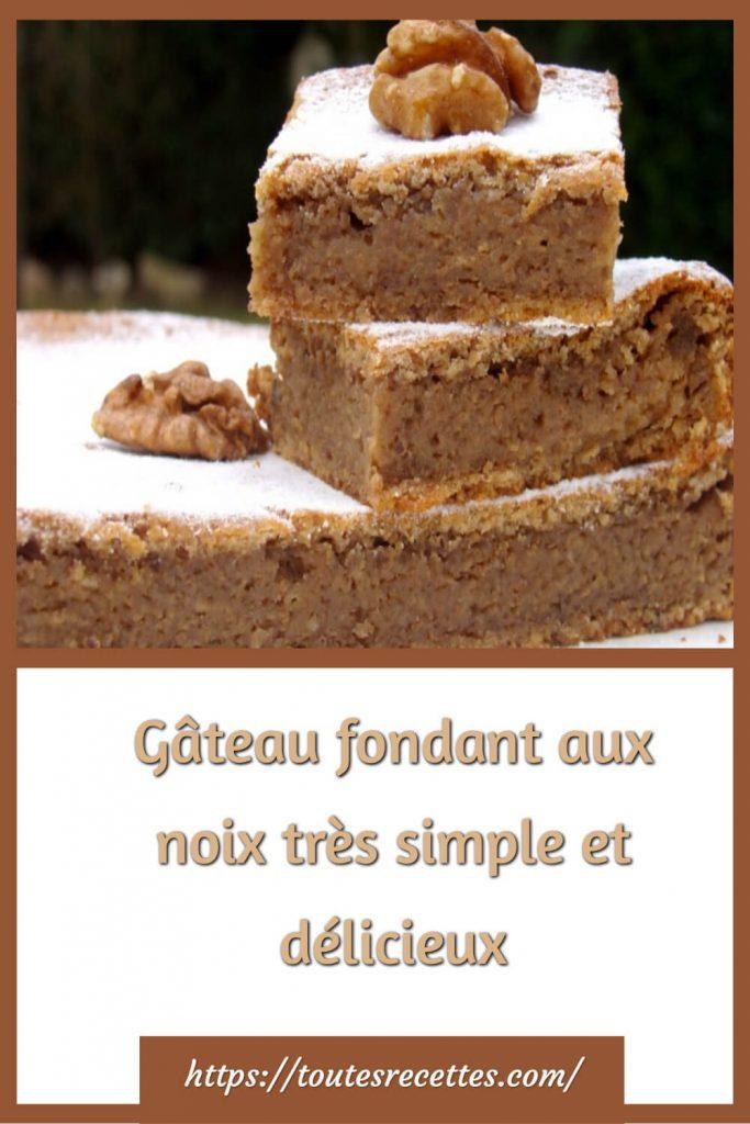 Comment préparer le Gâteau fondant aux noix très simple et délicieux