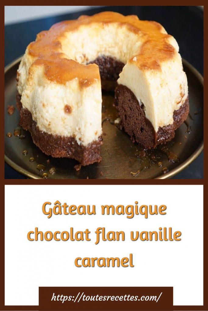 Comment préparer le Gâteau magique chocolat flan vanille caramel
