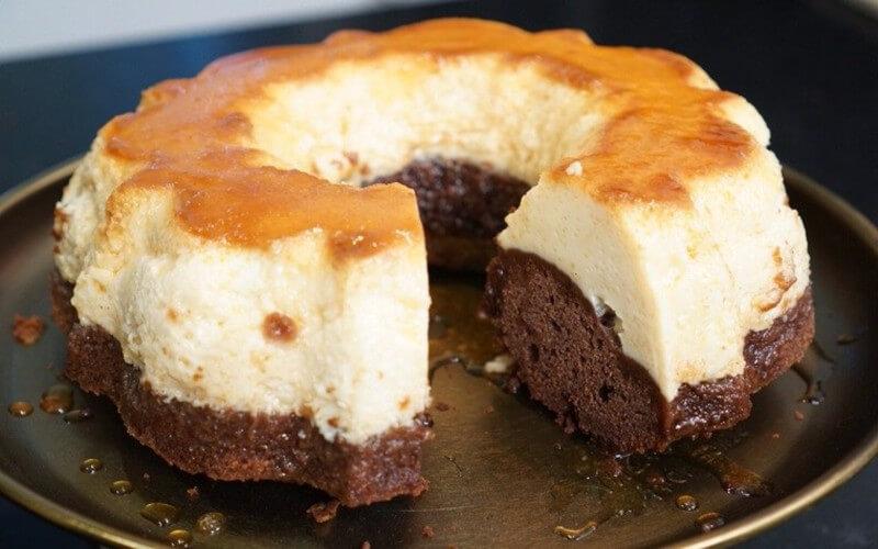 Gâteau magique chocolat flan vanille caramel