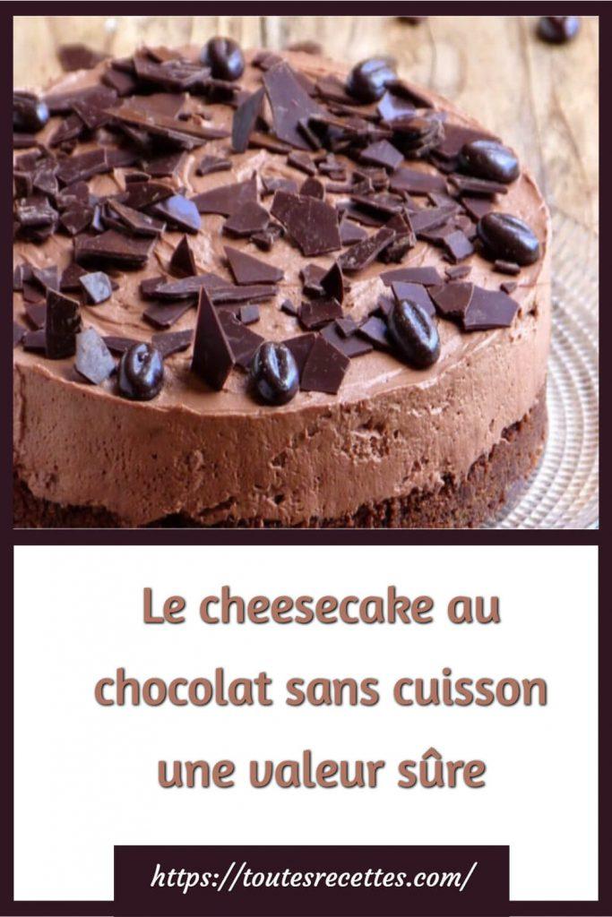 Comment préparer Le cheesecake au chocolat sans cuisson