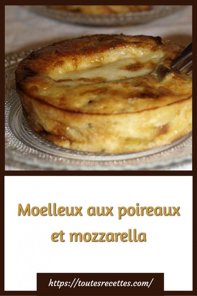 Comment préparer le Moelleux aux poireaux et mozzarella