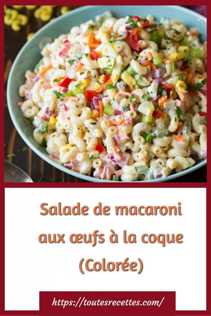 Comment préparer la Salade de macaroni aux œufs à la coque (Colorée)