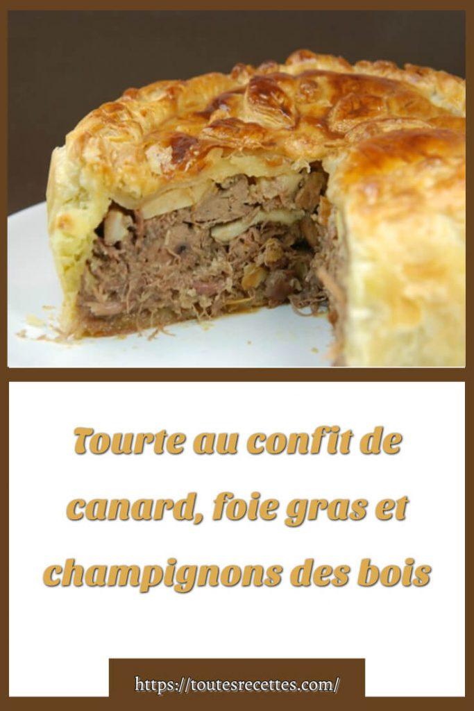 Comment préparer la Tourte au confit de canard, foie gras et champignons des bois