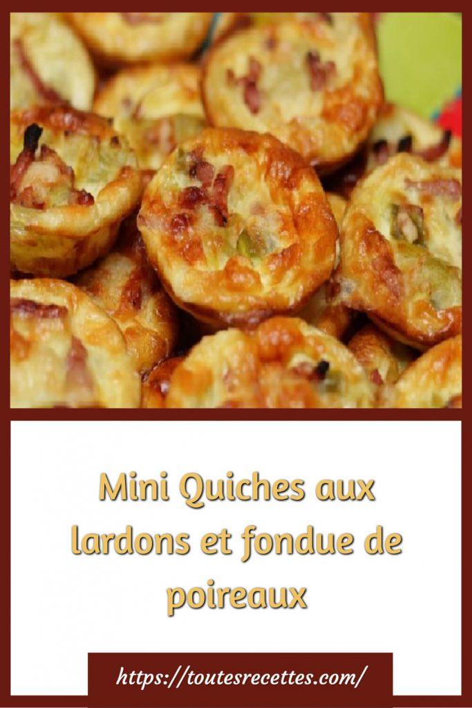 Comment préparer les Mini Quiches aux lardons et fondue de poireaux