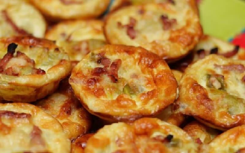Mini Quiches aux lardons et fondue de poireaux