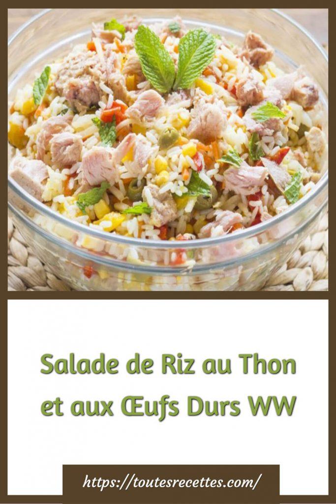 Comment préparer la Salade de Riz au Thon et aux Œufs Durs WW