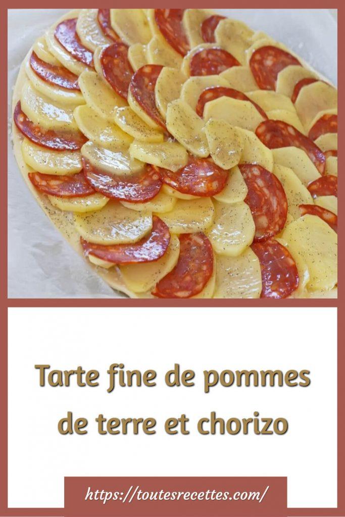 Comment préparer la Tarte fine de pommes de terre et chorizo