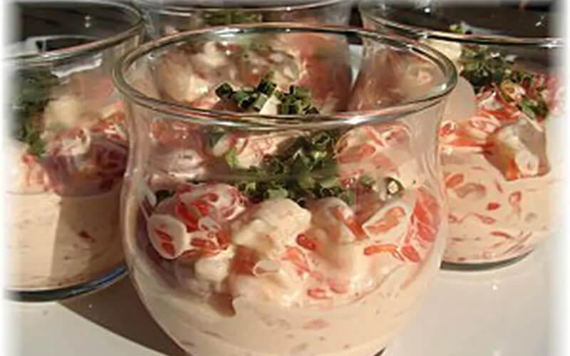 Verrines de crevettes pamplemousse cocktail