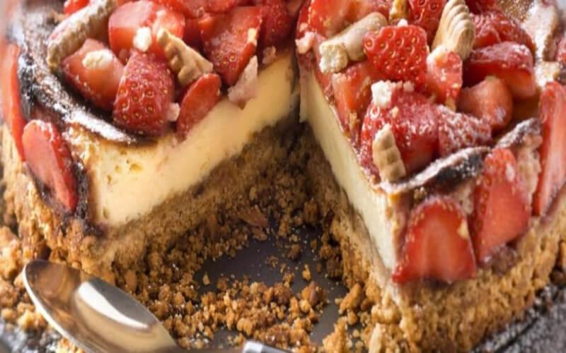Cheesecake au Petit Beurre LU, Philadelphia et fraises