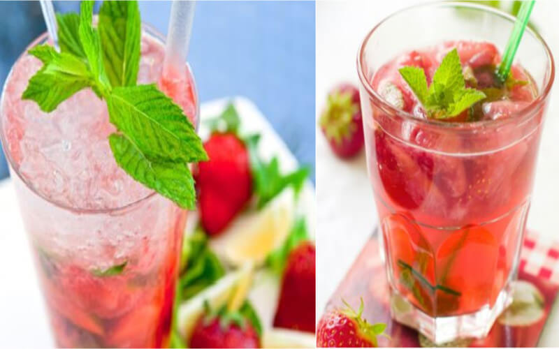 Cocktail Mojito à la fraise et au rhum à la menthe