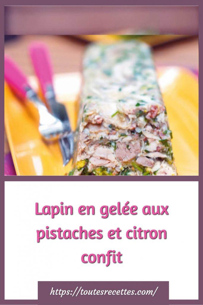 Comment préparer le Lapin en gelée aux pistaches et citron confit
