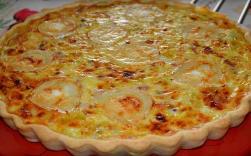 Tarte aux poireaux et fromage de chèvre et lardons