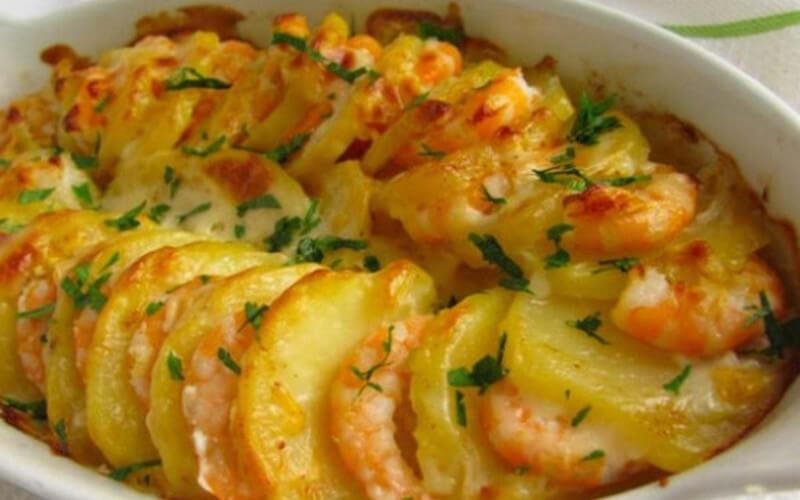 Gratin de crevettes et pommes de terre sans lait, sans gluten