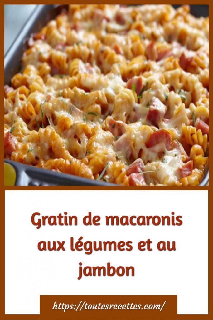 Comment préparer le Gratin de macaronis aux légumes et au jambon