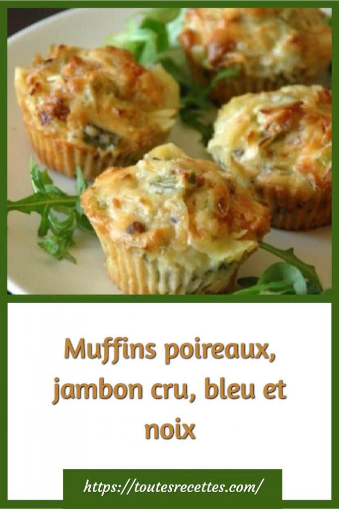 Comment préparer les Muffins poireaux, jambon cru, bleu et noix