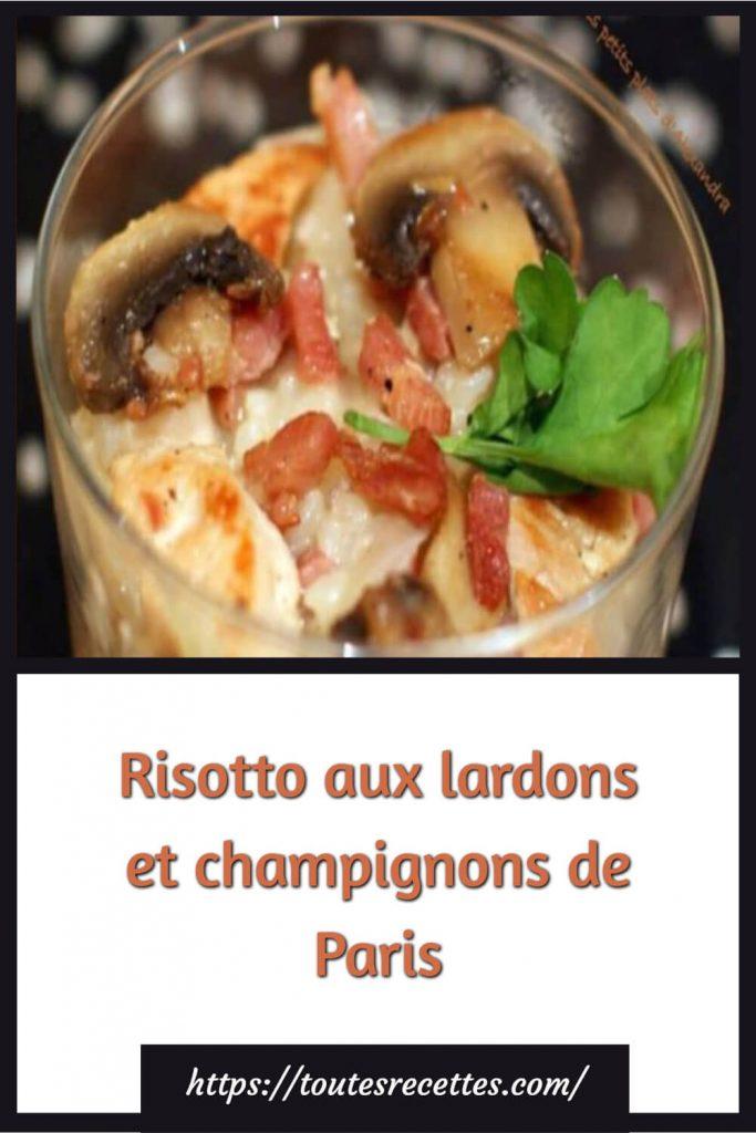 Comment préparer le Risotto aux lardons et champignons de Paris