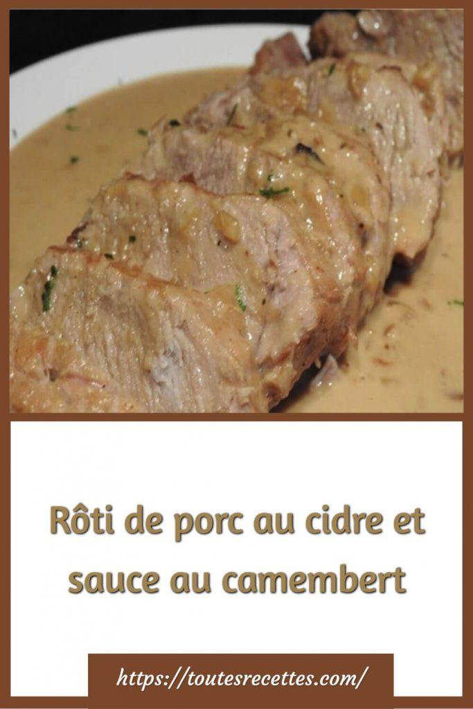 Comment préparer le Rôti de porc au cidre et sauce au camembert