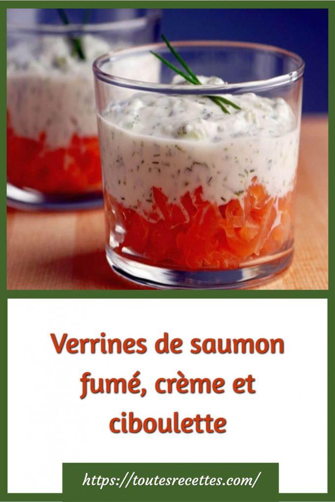 Comment préparer les Verrines de saumon fumé, crème et ciboulette