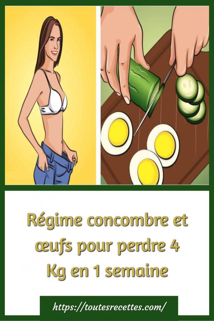 Régime concombre et œufs pour perdre 4 Kg en 1 semaine