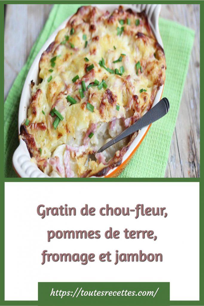 Comment préparer le Gratin de chou-fleur, pommes de terre, fromage et jambon