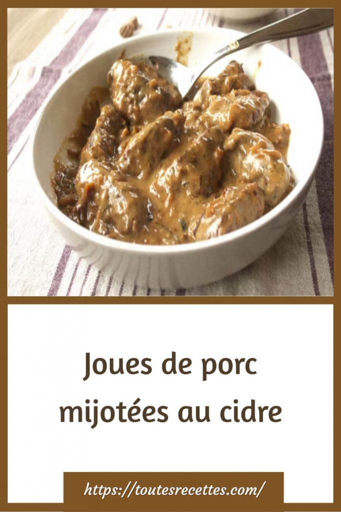 Comment préparer les Joues de porc mijotées au cidre