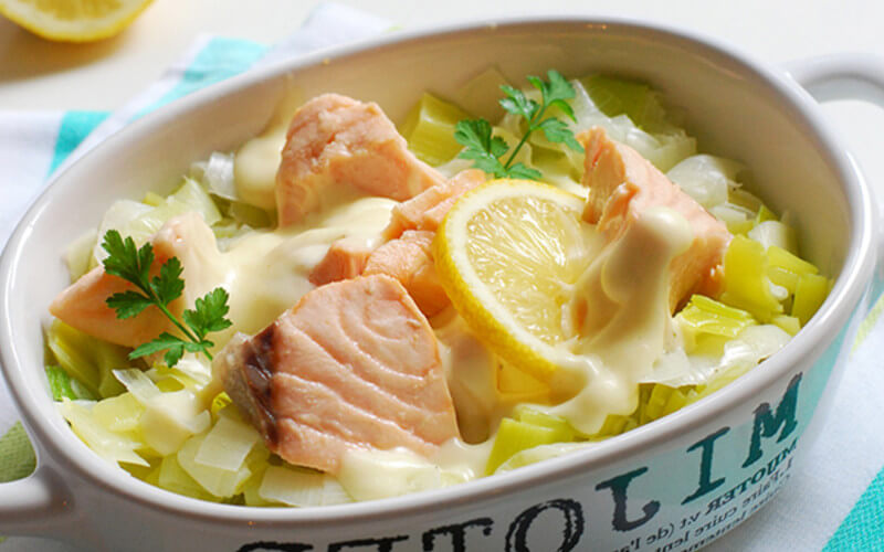 Blanquette de la mer au saumon et poireaux