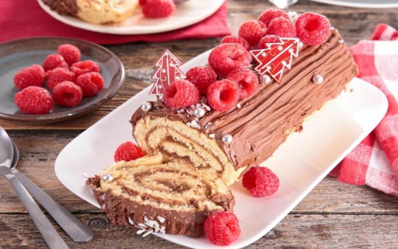 Bûche chocolat framboise parfaite pour Noël