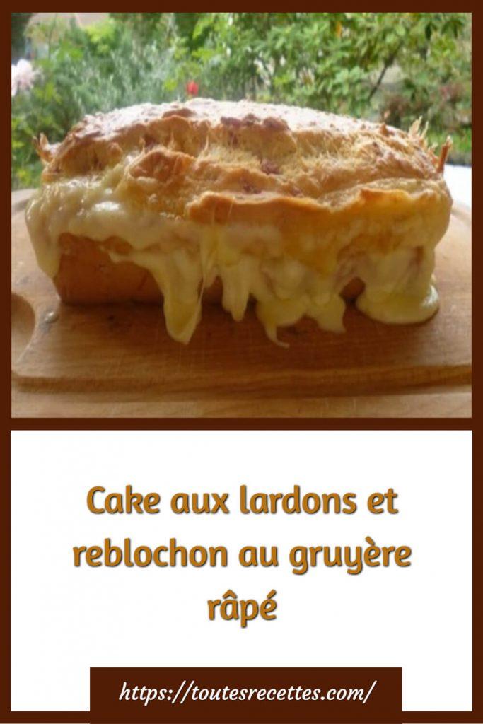 Comment préparer le Cake aux lardons et reblochon au gruyère râpé
