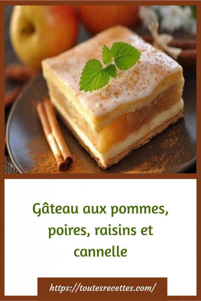 Comment préparer le Gâteau aux pommes, poires, raisins et cannelle