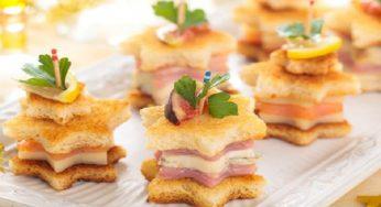 Recette du Tapas de noël au saumon, au parmesan et au jambon
