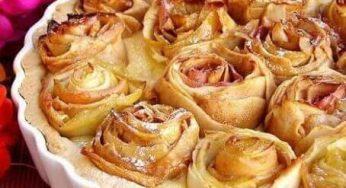 Tarte aux pommes en forme bouquet de roses