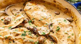 blanquette de poulet aux champignons plat raffiné et facile à faire