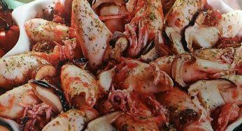 Calamars farcis aux champignons grillés